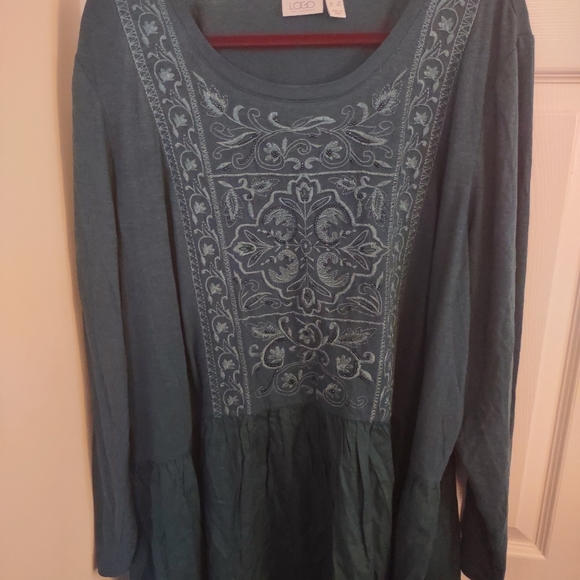 LOGO long sleeve embroidered tunic